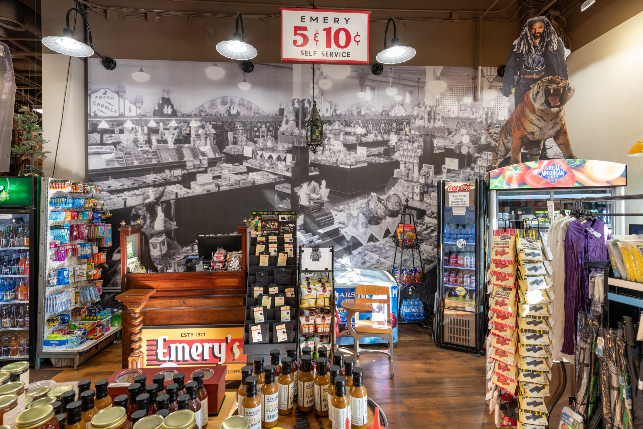 Displays filled with products inside Emery's 5 & 10
